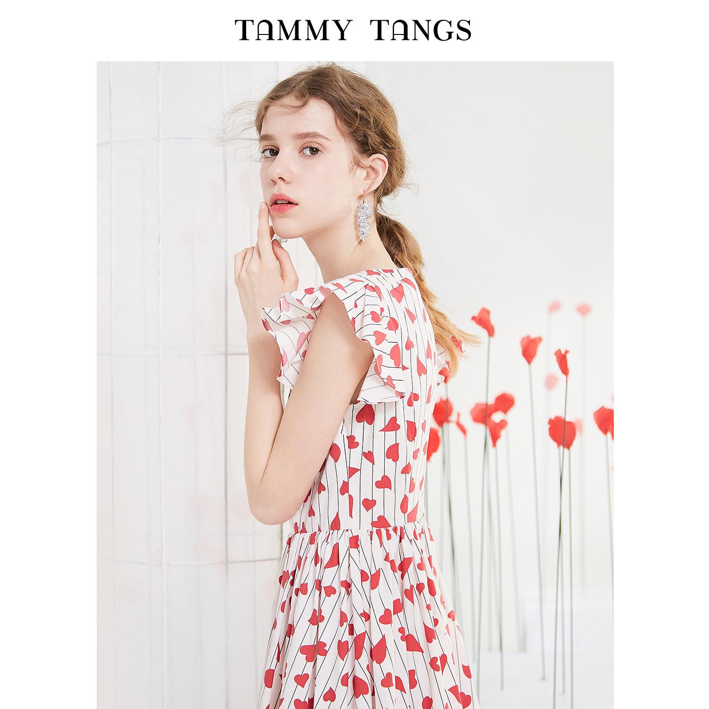 糖力 夏季新款欧美V领印花连衣裙女修身荷叶边裙子