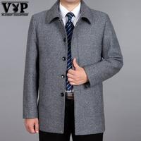 花花公子贵宾羊毛呢男士大衣中老年毛呢外套爸爸装中长款呢大衣男