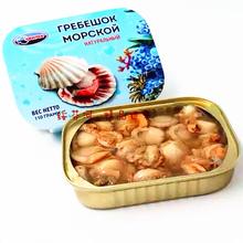 俄罗斯扇贝罐头包邮即食扇贝肉海鲜小扇贝柱去壳水浸拿吞鲜贝包邮