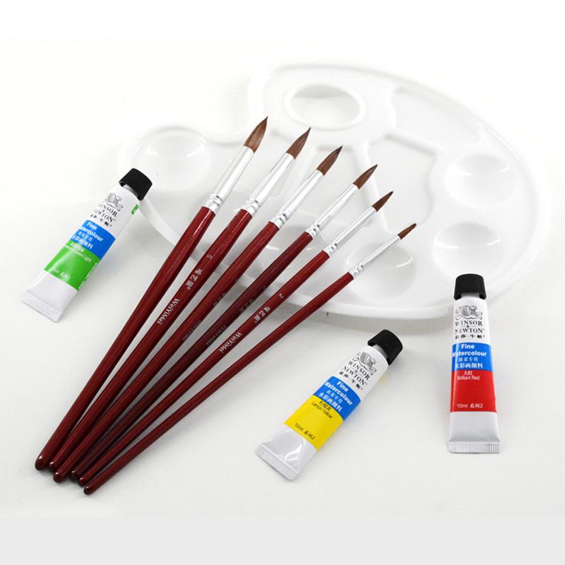 狼毫尖头水彩笔 描边笔水粉笔颜料画笔毛笔勾线笔套装6支装