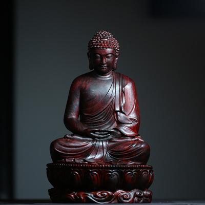 印度小叶紫檀禅定如来摆件 高密名家精工文房摆件木雕工艺
