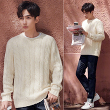 Couple sweater New style round collar pullover Zhu Yilong sweater with same warmth for men and women in spring and autumn of 2019