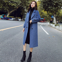Haze blue wool jacket women's medium and long Korean version of the new Mori winter and autumn thicker popular wool coat