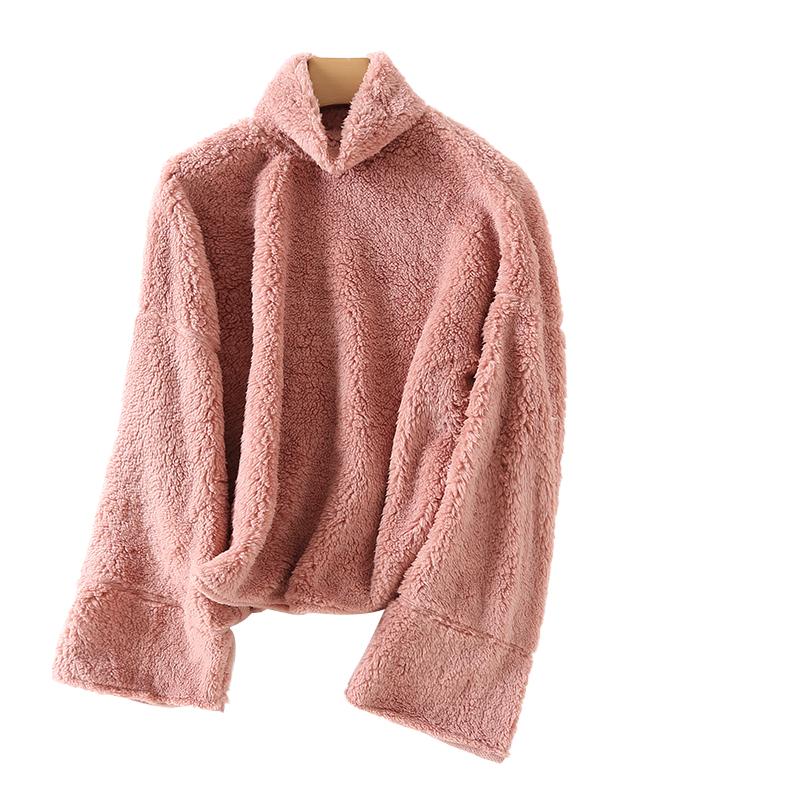 DT女士时尚休闲保暖舒适羊羔毛卫衣18秋冬新款大袖管纯色百搭上衣