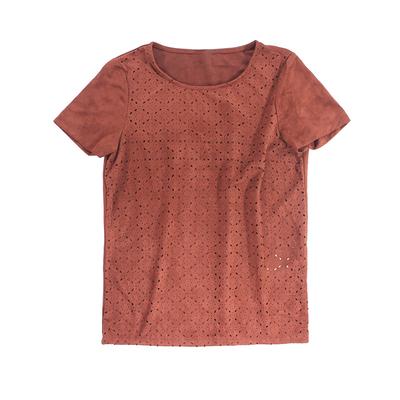 Q2夏季新款圆领上衣2018简约百搭复古麂皮绒镂空花型纯色短袖T恤