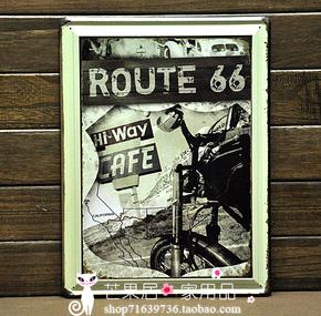 美国66号公路铁皮画大号 欧美风格 酒吧 咖啡厅 台球吧 装饰画