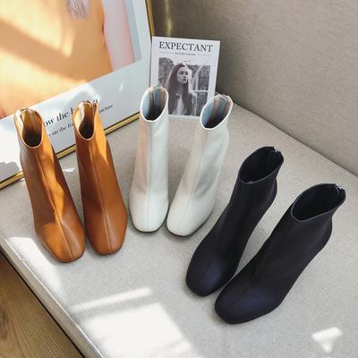 2018欧洲站新款秋冬女靴子真皮粗跟短靴女方头白色马丁靴女高跟鞋
