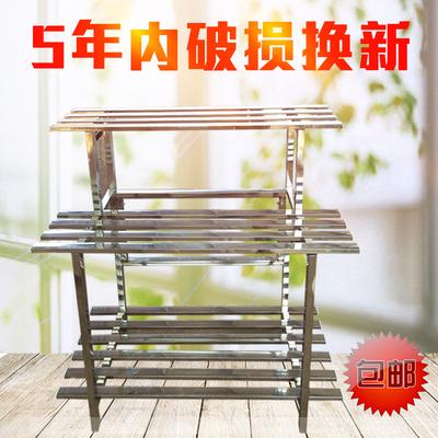 不锈钢防腐大花架阳台铁艺多层放花架子室内外三层阶梯花盆架
