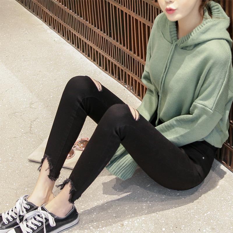 显瘦裤装_韩版chic紧身破洞牛仔裤3元优惠券