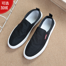 Autumn and winter soft bottom lazy shoes men's one foot men's old Beijing cloth shoes men's breathable deodorant casual shoes canvas shoes tide