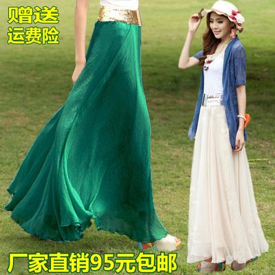 半身长裙夏装新款女装大摆显瘦波西米亚雪纺裙沙滩度假纱裙舞裙子