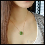 Special price Natural Xinjiang Hetian jade old pit spinach green boutique safe buckle Safety ring pendant female models