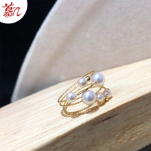 Japanese Akoya new elastic seawater pearl ring 18K Gold 3-6mm temperament Korean version jewelry personality fashion