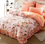 Winter coral velvet four-piece female bed quilt cover double-faced velvet three French crystal bed thick Korean version of flannel