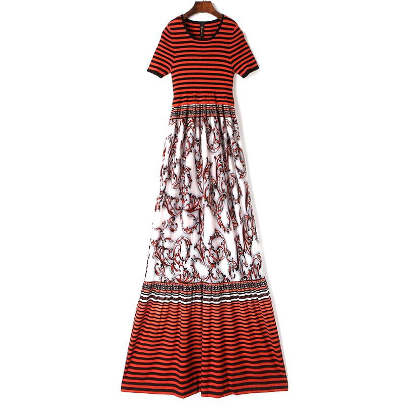 单2019夏季女装新款修身显瘦印花拼接条纹针织连衣裙A字长裙