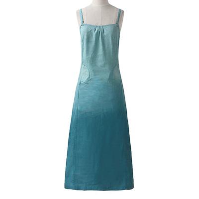 2019夏季显瘦修身欧美范时尚吊带裙女百搭中长款渐变色连衣裙