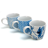 European Ceramic Tea Cup Blue and White Pattern Mug Office Coffee Cup 300ml