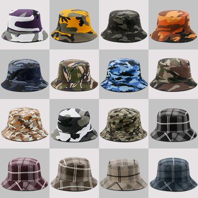 帽子男春夏天户外迷彩格纹渔夫帽女两面可戴遮阳帽防晒折叠钓鱼帽