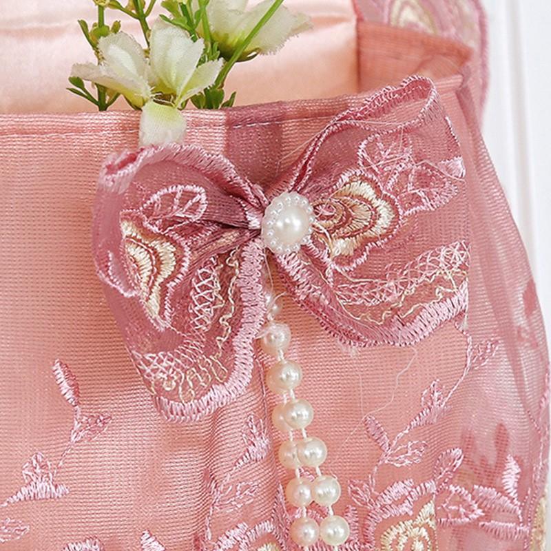 欧式蕾丝多层收纳袋挂袋壁挂门后布艺挂式收纳袋墙上储物袋