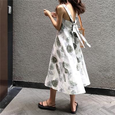 2018露背系带印花性感显瘦长款度假吊带沙滩长裙泰国度假连衣裙