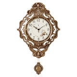Polaris European antique brass wall watch silent large living room wall clock fashion clock pendulum clock creative quartz clock