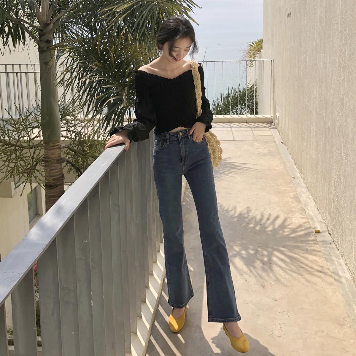超高腰牛仔裤女长裤