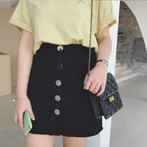 摩妮卡大码女装2019新款胖mm夏装排扣半身裙韩版休闲显瘦牛仔裙
