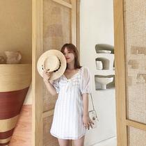 摩妮卡大码女装连衣裙2019夏装新款甜美气质胖mm显瘦条纹洋气短裙