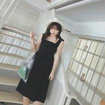 摩妮卡大码女装前后两穿背带连衣裙新夏款胖mm气质显瘦过膝吊带裙
