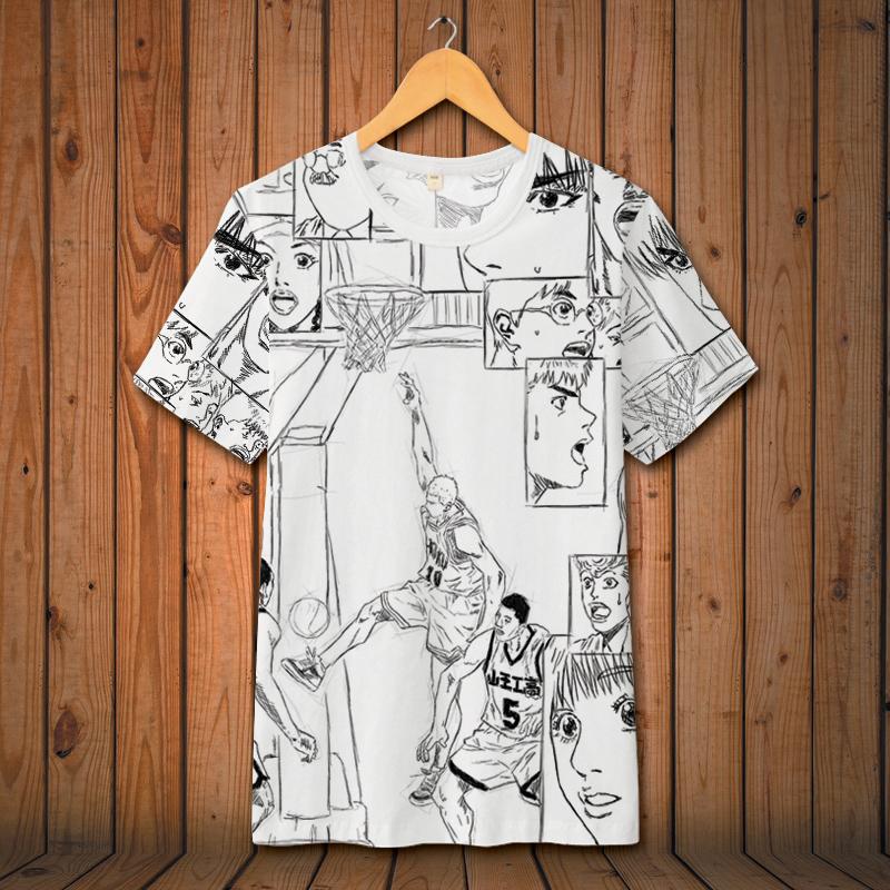 道宽松T恤男日系卡通大码冰丝半截袖
