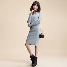 女装 气质连衣裙打底裙包臀紧身长裙 针织长袖 长款 2014秋冬季新款