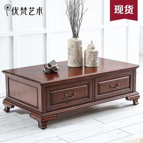 优梵艺术Pontiac美式实木质茶几矮桌子茶机桌储物小户型客厅茶台