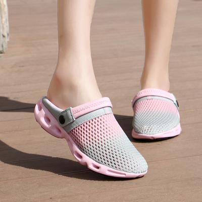 女士沙滩鞋情侣鸟巢洞洞鞋半包头凉拖鞋女去度假拖鞋网面一字拖鞋