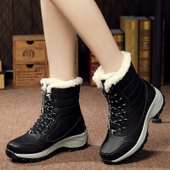 冬季加绒户外雪地靴女防水防滑东北中筒棉靴滑雪鞋登山旅游鞋41