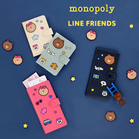 Korea LINE FRIENDS x MONOPOLY Brown Bear Leather Travel Passport Clips Anti-degaussing Document Bag