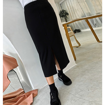 The tone of the Open fork skirt ~ wear a season is not greasy ~ fat sister black skirt long skirt 5601