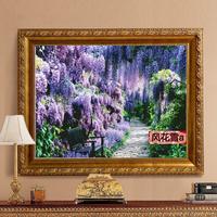 超清晰彩色十字绣重绘图纸/源文件唯美风景紫色的季节360 251