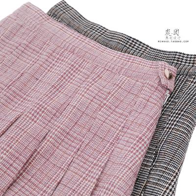 【炭团原创设计】细格。百搭少女基础款毛呢格子百褶裙短裙半身裙