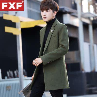 风衣男青年韩版修身帅气中长款呢子大衣男士秋季毛呢外套上衣潮