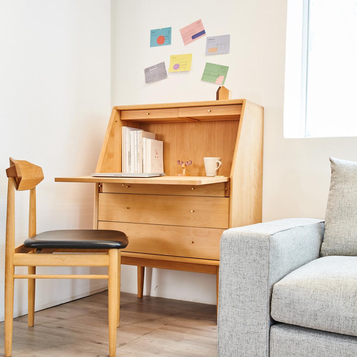 及木家具 北欧简约设计 中古 秘书柜 榉木 黑胡桃实木书桌柜DG027