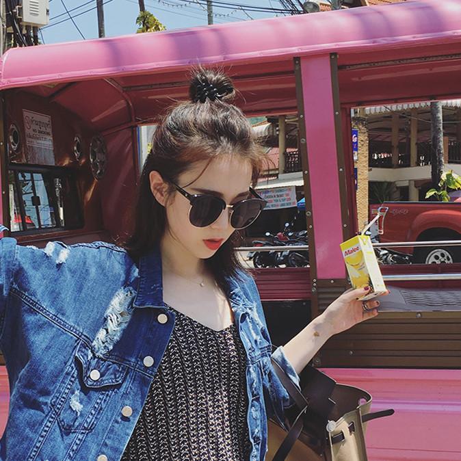 韩版大框反光女太阳镜圆脸优雅潮人款墨镜女近视太阳镜复古