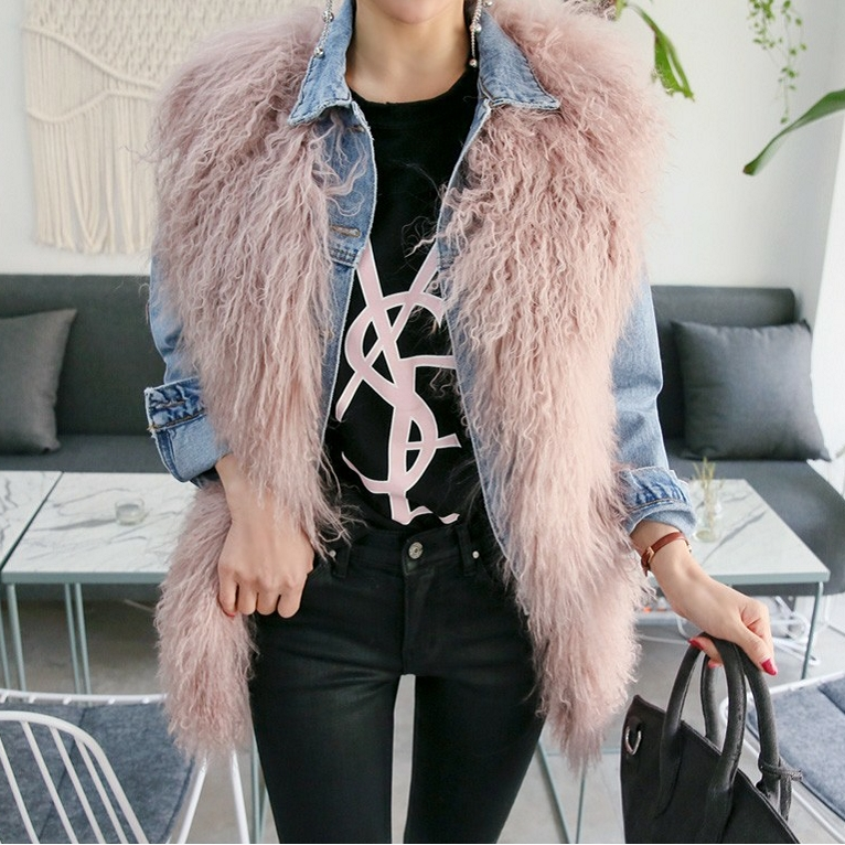 2018 autumn and winter new fur vest female imitation beach wool long curly hair vest thin