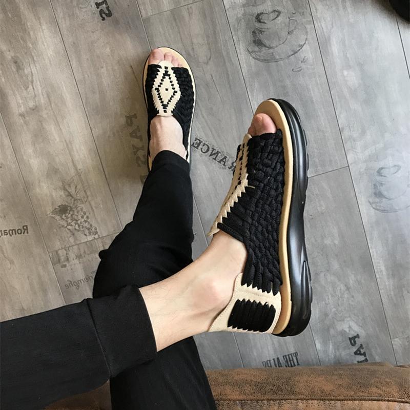 男士凉鞋夏季2019新款真皮编织韩版罗马潮鞋发型师厚底透气沙滩鞋