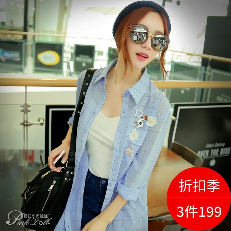 衬衫女长袖粉红小布娃娃春季新款韩版休闲时尚长款格子上衣