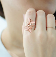 Japanese and Korean Rose and Gold Ring Women Two Butterfly Index Fingers Chaozhou Fashion Ring Middle Finger Personality Simple Jewelry