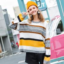 南岛风大码女装胖MM2018秋季新款时尚气质宽松藏肉条纹针织毛衣