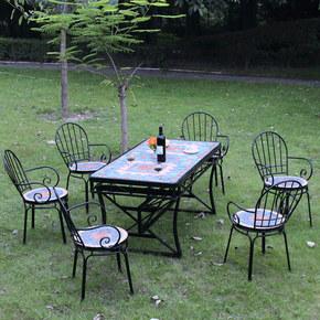 户外阳台桌椅欧式铁艺庭院咖啡厅花园室外防水防晒餐桌长桌椅组合