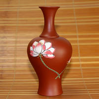 Mini Yixing Purple Sand Flower Pot Flower Hand-Made Zhu Niu Paint Water Culture Small vase Dutifully Lotus Flower vase