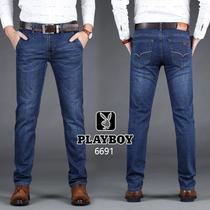 弹力花花公子夏季薄款牛仔裤男士宽松直筒超薄新款大码休闲男裤子