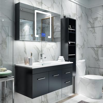 简约现代实木浴室柜组合智能卫浴柜洗脸盆柜吊柜洗漱台镜柜面盆柜爆款